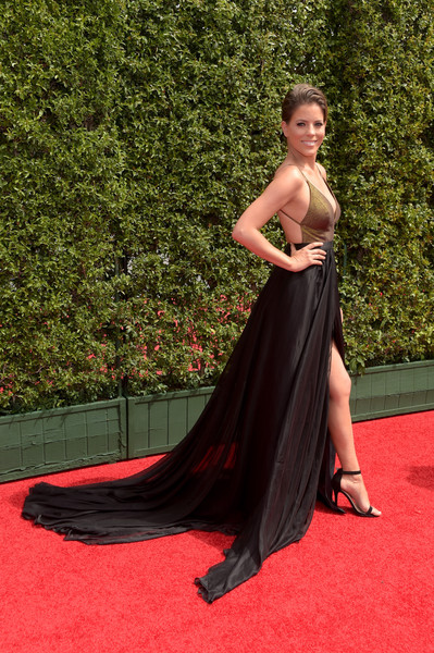 Stephanie Bauer Empire Gown [red carpet,carpet,dress,clothing,gown,shoulder,flooring,fashion,strapless dress,hairstyle,arrivals,stephanie bauer,microsoft theater,los angeles,california,creative arts emmy awards]