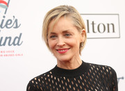Sharon Stone opted for a simple side-parted cut when she attended Steven Tyler's Grammy viewing party.