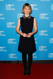 Mia Wasikowska chose a cute LBD with an embellished Peter Pan collar for the 'Stoker' premiere in Sydney.