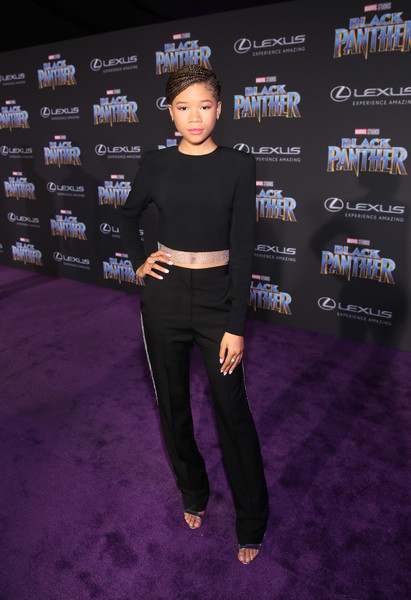 Storm Reid Slacks [black panther,clothing,carpet,premiere,flooring,red carpet,event,shoe,performance,storm reid,california,hollywood,dolby theatre,marvel studios,los angeles world premiere]