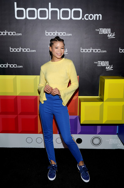 Storm Reid Sports Pants [yellow,fashion,footwear,electric blue,photography,shoe,advertising,performance,flooring,talent show,special guest zendaya,storm reid,dream hollywood,the highlight room,hollywood,california,boohoo.com spring collection,block party,launch,zendaya edit]