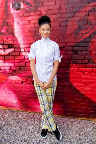 Storm Reid Fitted Blouse [plaid,red,pattern,tartan,textile,design,shoe,los angeles,california,national day of racial healing,national day of racial healing at array,storm reid]