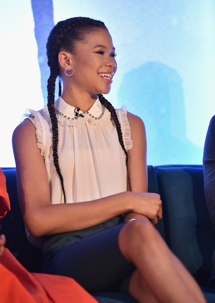 Storm Reid Ruffle Blouse [a wrinkle in time,blue,sitting,fashion,adaptation,photography,black hair,thigh,photo shoot,storm reid,ca,hollywood,disney,press conference,press conference]
