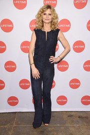 Kyra Sedgwick opted for a simple midnight-blue jumpsuit when she attended the New York screening of 'Story of a Girl.'