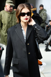 Kaia Gerber was spotted out and about during New York Fashion Week wearing a pair of rectangular shades.