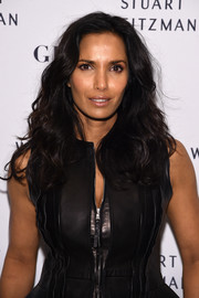 Padma Lakshmi was casual-glam with her fanned-out curls at the launch of the Stuart Weitzman Gigi boot.