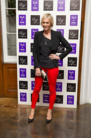Jenni Falconer broke up her black separates with  a pair of bright red skinnies.