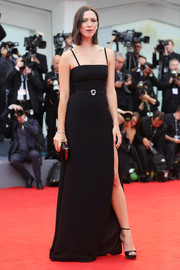 Rebecca Hall complemented her dress with black ankle-strap platforms.