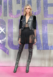 Cara Delevingne topped off her edgy-sexy look with a tulle-and-leather moto jacket, also by Alexander McQueen.