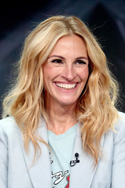Julia Roberts attended the Summer 2018 TCA Press Tour wearing her signature teased, center-parted waves.