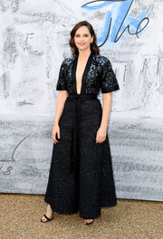 Felicity Jones looked tres chic in a beaded, wide-leg jumpsuit with a navel-grazing neckline at the 2019 Serpentine Gallery Summer Party.