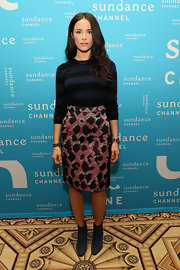 Abigail got playful with patterns at the Sundance Channel's 2013 Winter TCA Panel in this geometric-print skirt.