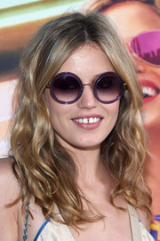 Georgia May Jagger was cute and cool wearing these round purple shades at the Electrify Your Summer event.