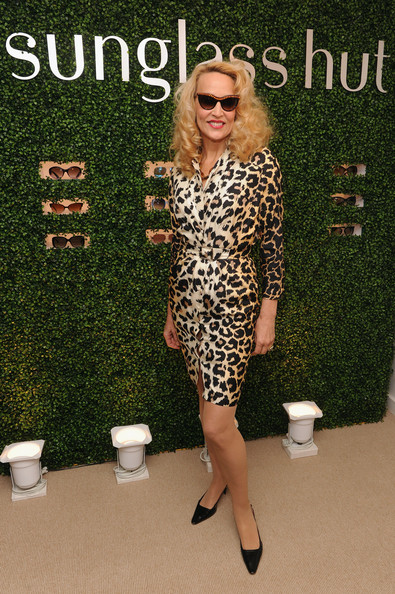 Jerry Hall looked glamorous as ever in this cheetah-print dress.