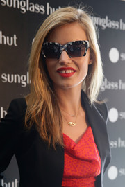 Georgia May Jagger showed off a sassy pair of black-and-white-rimmed sunglasses.