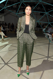 Caroline Issa rocked a baggy printed pantsuit at the Suno fashion show.