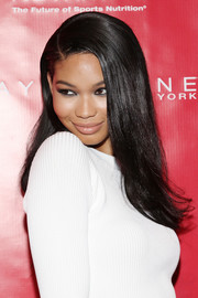 Chanel Iman opted for a sleek side-parted style when she attended the Super Bowl XLVIII party.