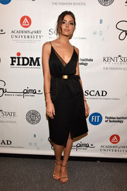 Olivia Culpo was classic and sophisticated in a black faux-wrap cami dress at the Supima Design Competition.