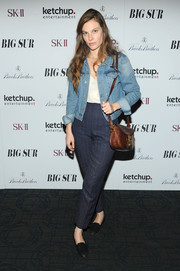 Lindsay Burdge was dressed down in a jean jacket and high-waist slacks during the 'Big Sur' premiere in NYC.