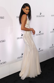 Chanel Iman went for some bridal glamour in this white Versace gown during the Swarovski #bebrilliant event.