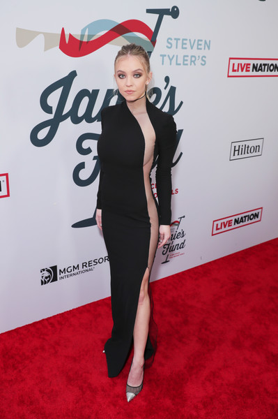 Sydney Sweeney Evening Pumps [image,red carpet,carpet,clothing,red,premiere,flooring,leg,dress,shoulder,little black dress,carpet,steven tyler,sydney sweeney,janie\u00e2,photography,red carpet,live nation,red carpet,third annual grammy awards viewing party to benefit janies fund,sydney sweeney,stock photography,photograph,the handmaids tale,image,actor,photography,united states,grammy awards]