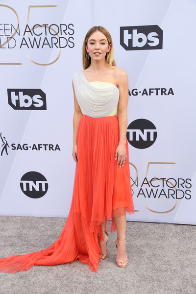Sydney Sweeney Evening Sandals [clothing,shoulder,dress,red carpet,carpet,premiere,hairstyle,joint,fashion,orange,arrivals,sydney sweeney,screen actors guild awards,screen actors\u00e2 guild awards,california,los angeles,the shrine auditorium]