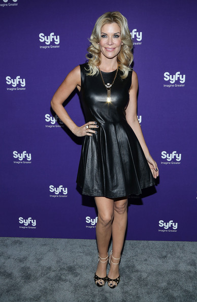 Mckenzie Westmore chose a fitted black leather dress for her chic and simple look at the Syfy Upfront event.