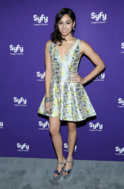 Meaghan Rath chose a fit-and-flare print dress for her fun and flirty look at the Syfy Upfront Event.