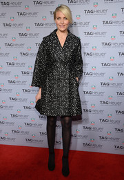 Cameron Diaz looked totally winter-glam in a black-and-white spotted coat by Giambattista Valli during the Tag Heuer New York City store opening.