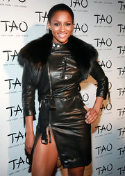 Ciara showed off major leg action in a leather-clad dress complete with a leg-splitting zipper.