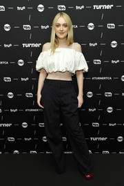 Dakota Fanning kept it breezy in a white cold-shoulder crop-top by 3.1 Phillip Lim at the TCA Turner Winter Press Tour.