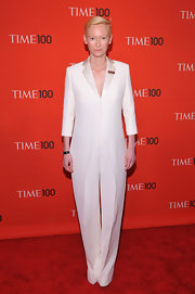Forever the fashion trailblazer, Tilda Swinton donned this crisp white blazer jumpsuit at the Time 100 Gala.