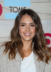 Jessica Alba topped off her look with summer-chic waves when she attended the TOMS for Target launch.