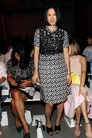 Eva Chen donned a busy-looking print dress with a beaded bodice for the 3.1 Phillip Lim fashion show.