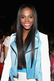 Tika Sumpter wore her long straight hair in a center part at the Rebecca Minkoff fashion show.