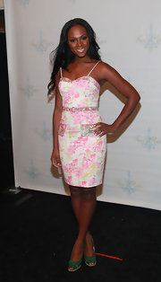 Tika Sumpter showed off her girly summer style with this floral dress at the Tracy Reese fashion show.