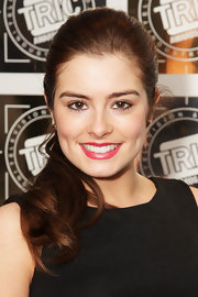 Rachel Shenton atended the 2012 TRIC Awards wearing her hair in a sleek ponytail with wavy ends.