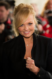 Emma Bunton wore her hair pinned up in a cute casual style with long side-swept bangs and loose face-framing tendrils at the 2012 TRIC Awards.