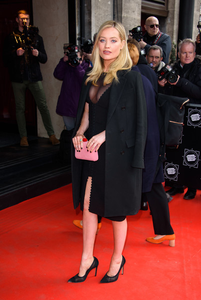 More Pics of Laura Whitmore Wool Coat (2 of 3) - Outerwear Lookbook - StyleBistro [red carpet,carpet,clothing,premiere,flooring,event,fashion,footwear,little black dress,dress,red carpet arrivals,laura whitmore,tric awards,grosvenor house hotel,london,england]