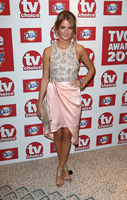 Millie Mackintosh paired her pretty Rachel Gilbert dress with a pair of Jimmy Choo heels.