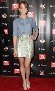Actress Jayma Mays attended TV Guide Magazine's Host List 2010 party wearing   silver leather open toe heels.