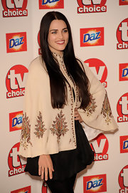 Katie McGrath showed off her long center part hair while attending the TVChoice Awards.