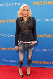 Gwen Stefani made an appearance at the 'Paddington' premiere wearing an edgy-chic leather-panel jacket.