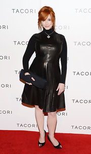 We never thought 'Mad Men's' Christina Hendricks would jump in on the leather trend!