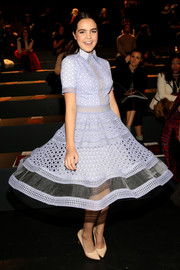 Bailee Madison looked adorable in a lavender eyelet shirtdress while attending the Tadashi Shoji fashion show.