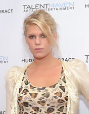 Alexandra Richards paired her printed dress with a loose updo.