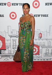 Tracee showed off her summer spirit in a printed maxi dress, while attending the opening of Target.