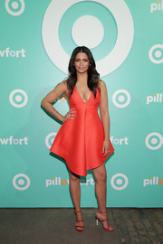 Camila Alves was a head turner at the Target Pillowfort launch party in this low-cut, fit-and-flare red dress.