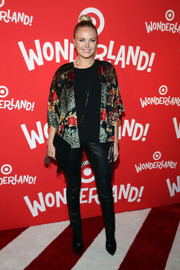 Malin Akerman teamed a fringed floral wrap with black leather skinnies for the Target Wonderland VIP event.