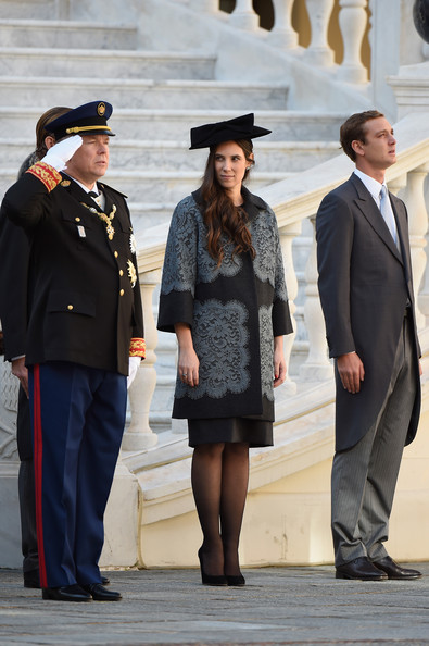 Tatiana Santo Domingo Printed Coat [fashion,standing,uniform,headgear,event,photography,white-collar worker,gesture,suit,street fashion,albert ii,pierre casiraghi,tatiana santo domingo,l-r,monaco,monaco palace courtyard,monaco national day,ceremony]